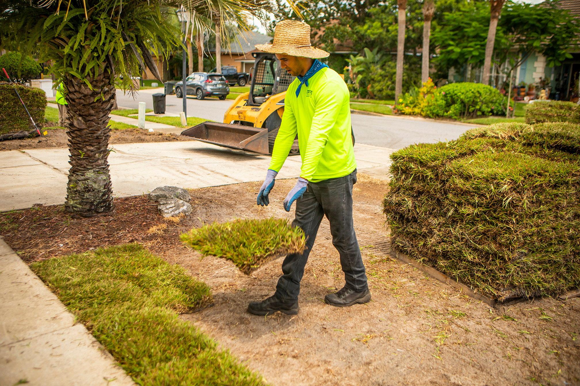Landscape crew installing sod