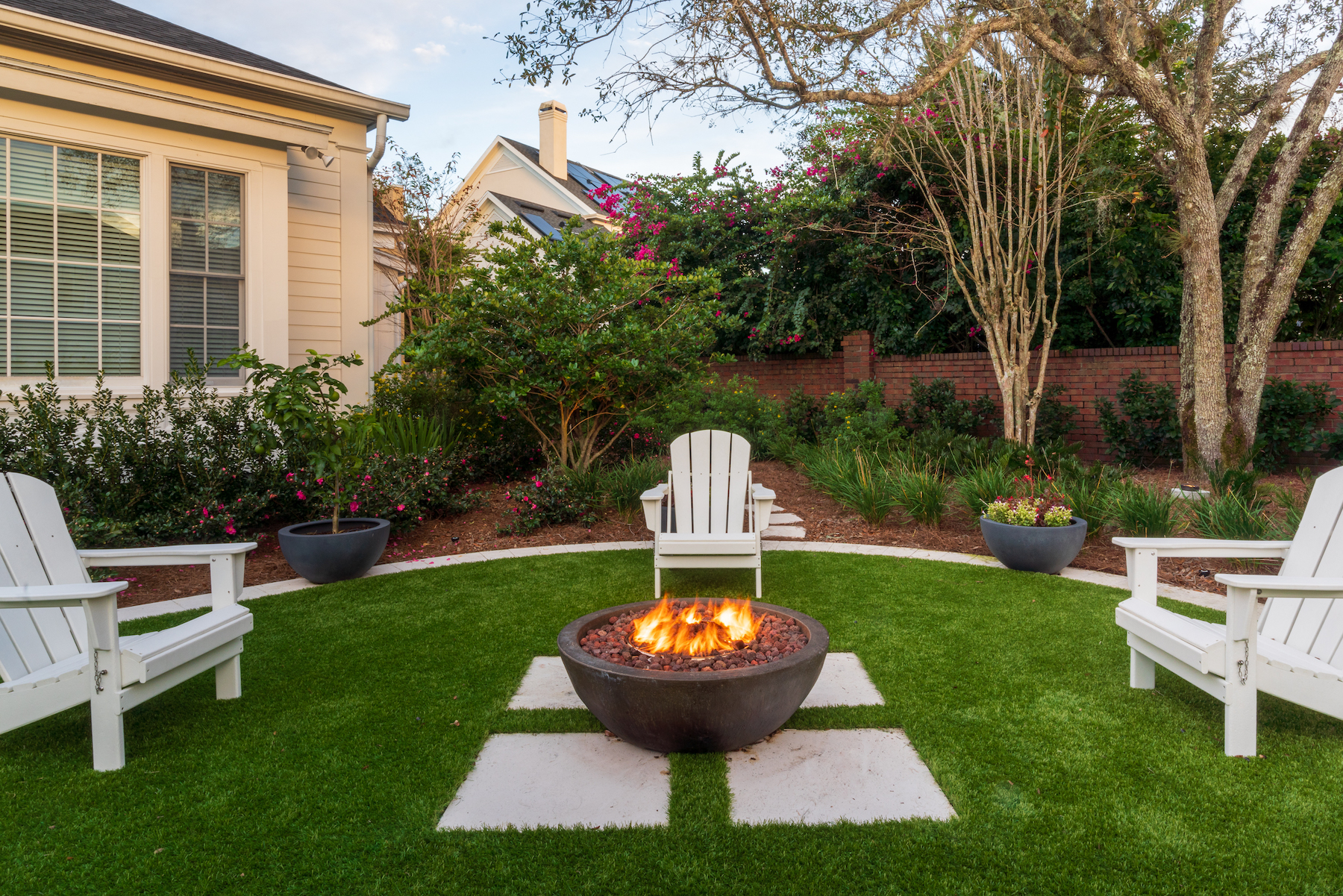 low maintenance yard with artificial turf