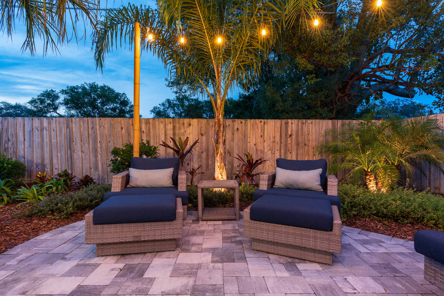 String lights added to paver patio