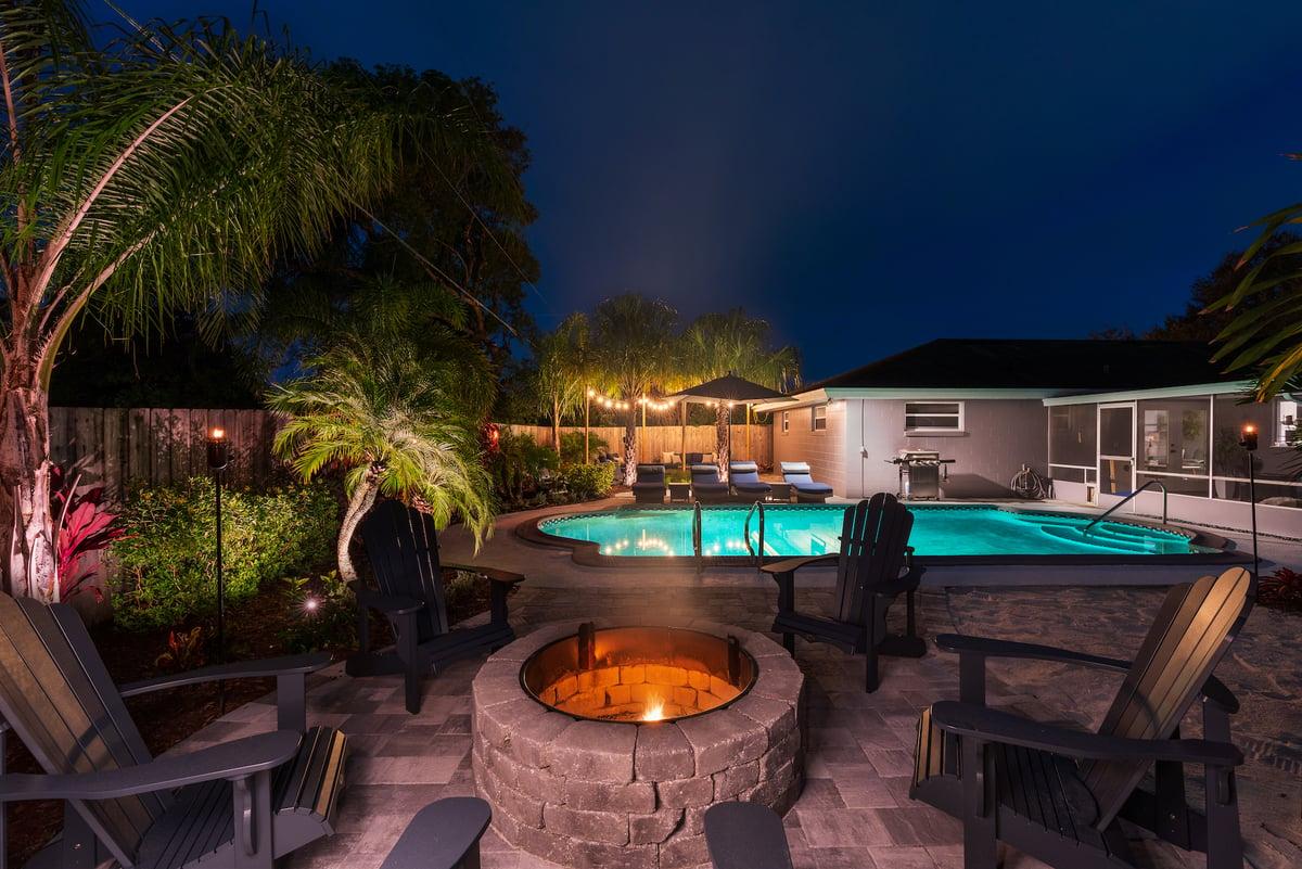 Florida landscape design with pool and firepit