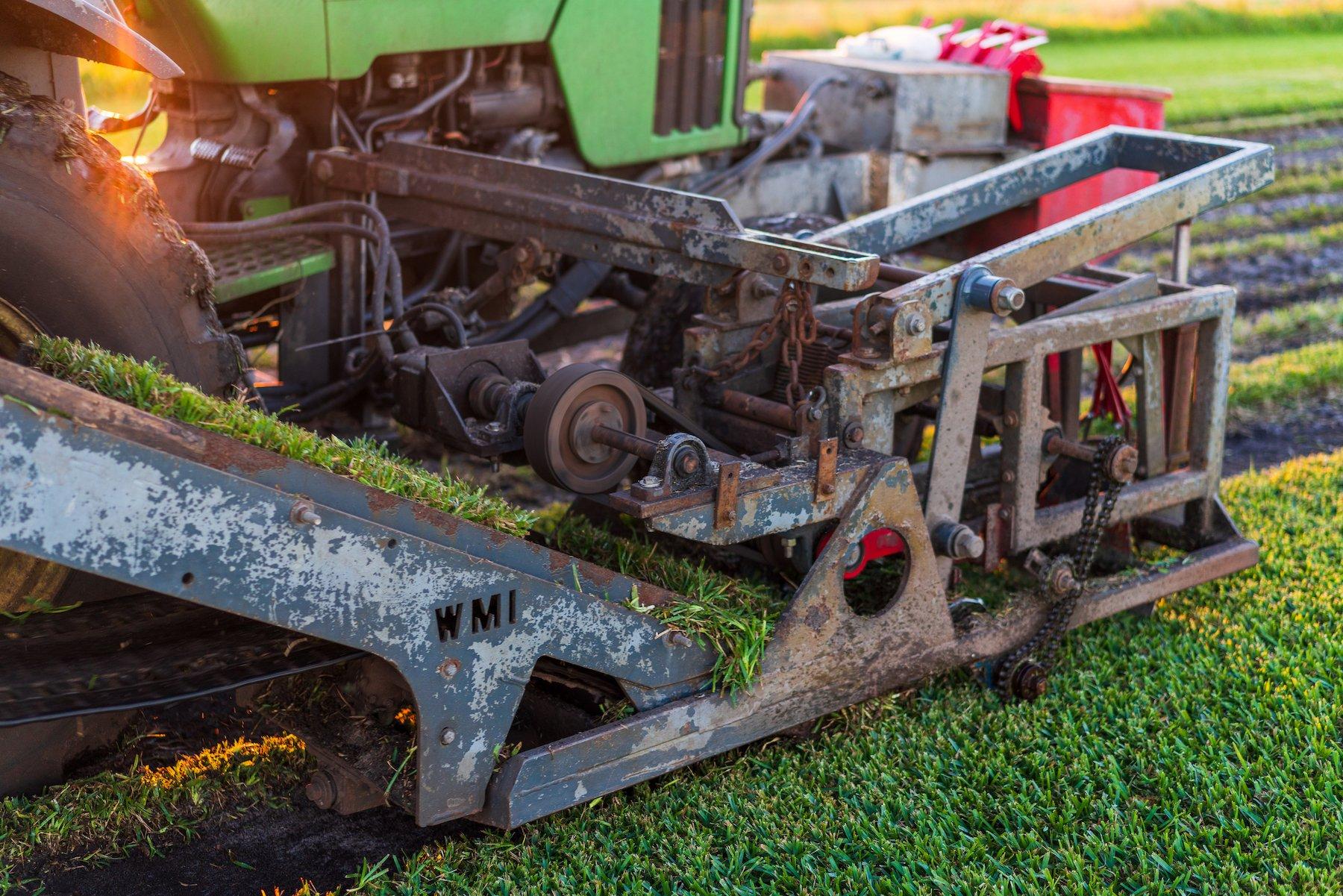 Up close of a sod harvesting machine