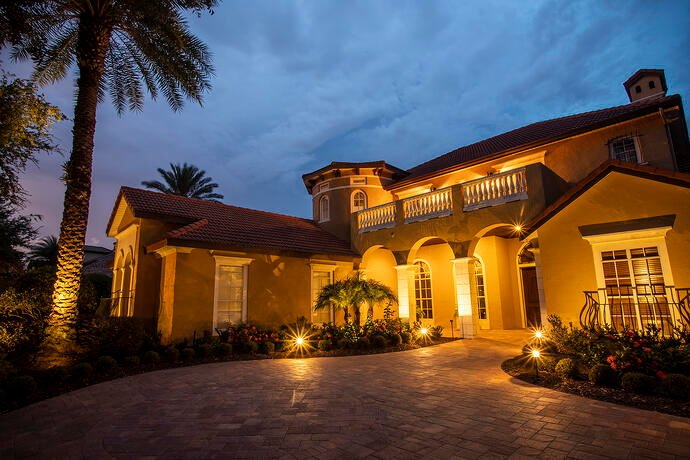 Home in central Florida with professional landscape lighting