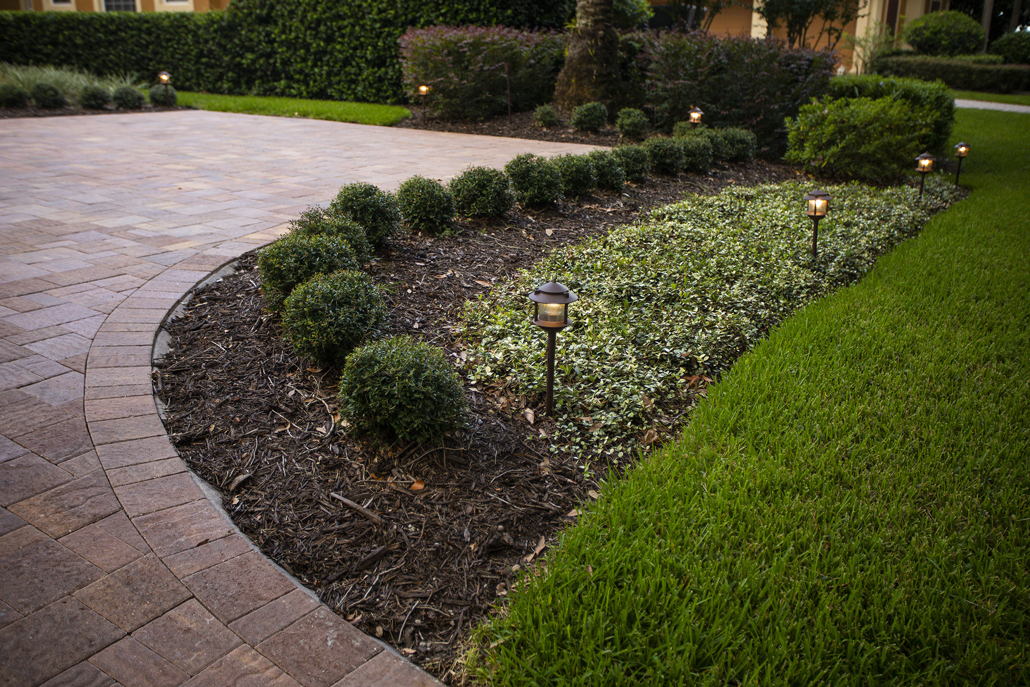 Landscape lighting and hardscaping