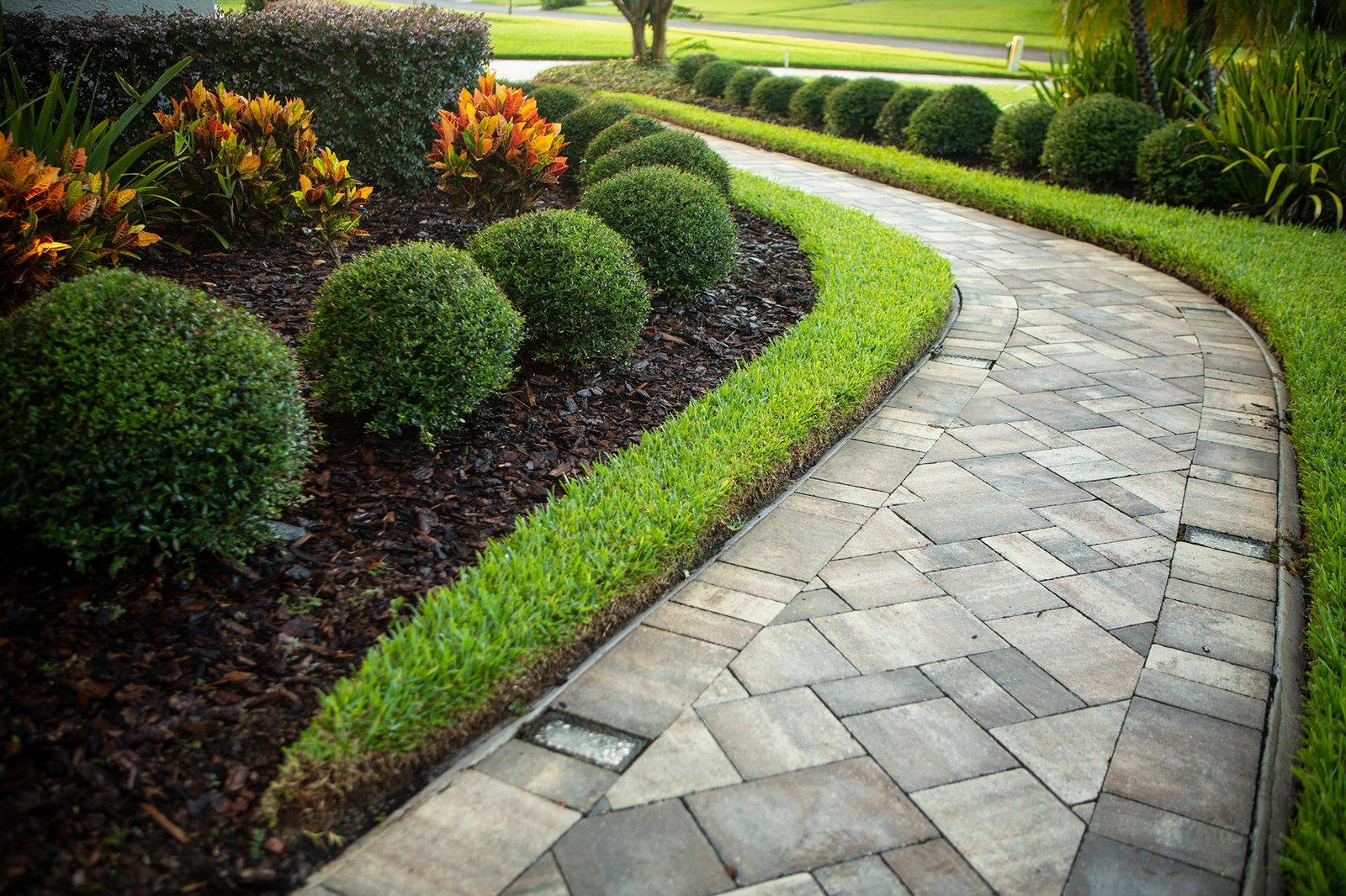 lawn plantings paver walkway 3