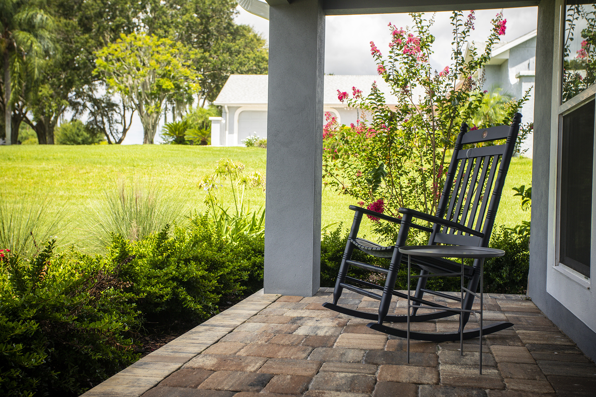 front porch patio with pavers