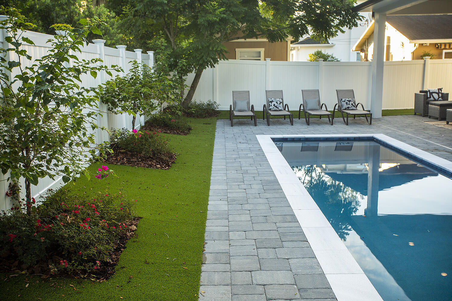 Pool surrounded by landscaping plants