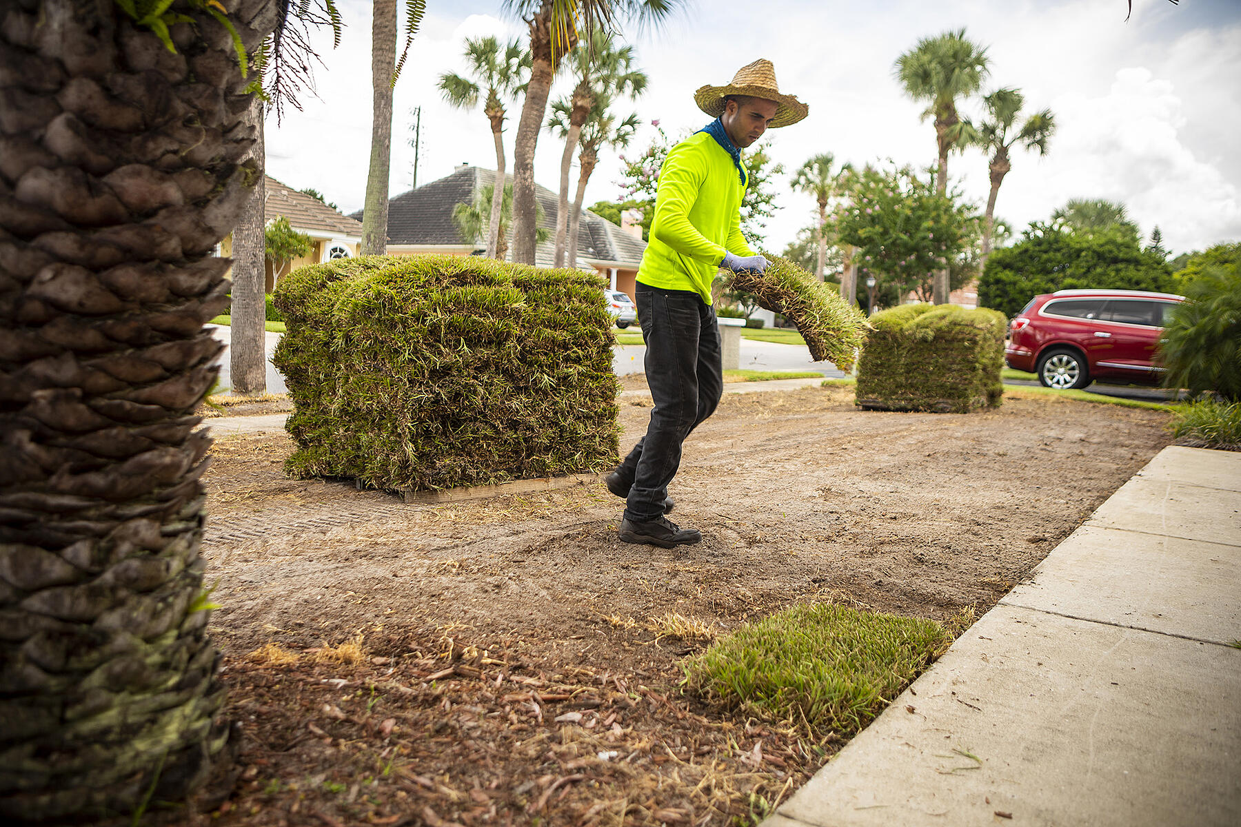 Ground Source team installing sod in Florida