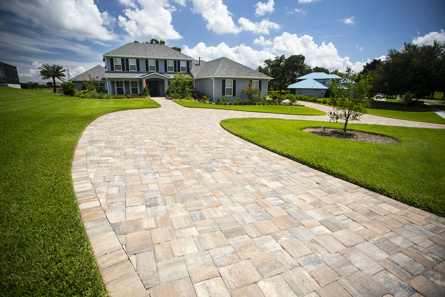 long driveway and walkway built with pavers