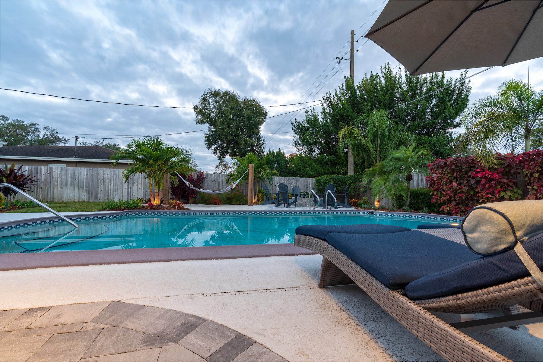 Pool patio with concrete and pavers