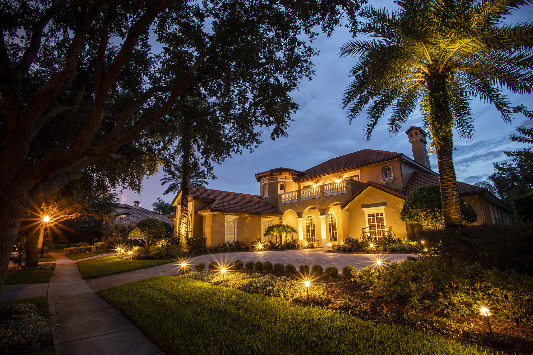 Central Florida home with beautiful landscape lighting