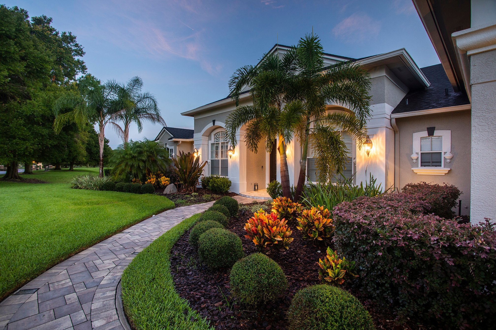 Landscape planting and paver pathway in Orlando, FL