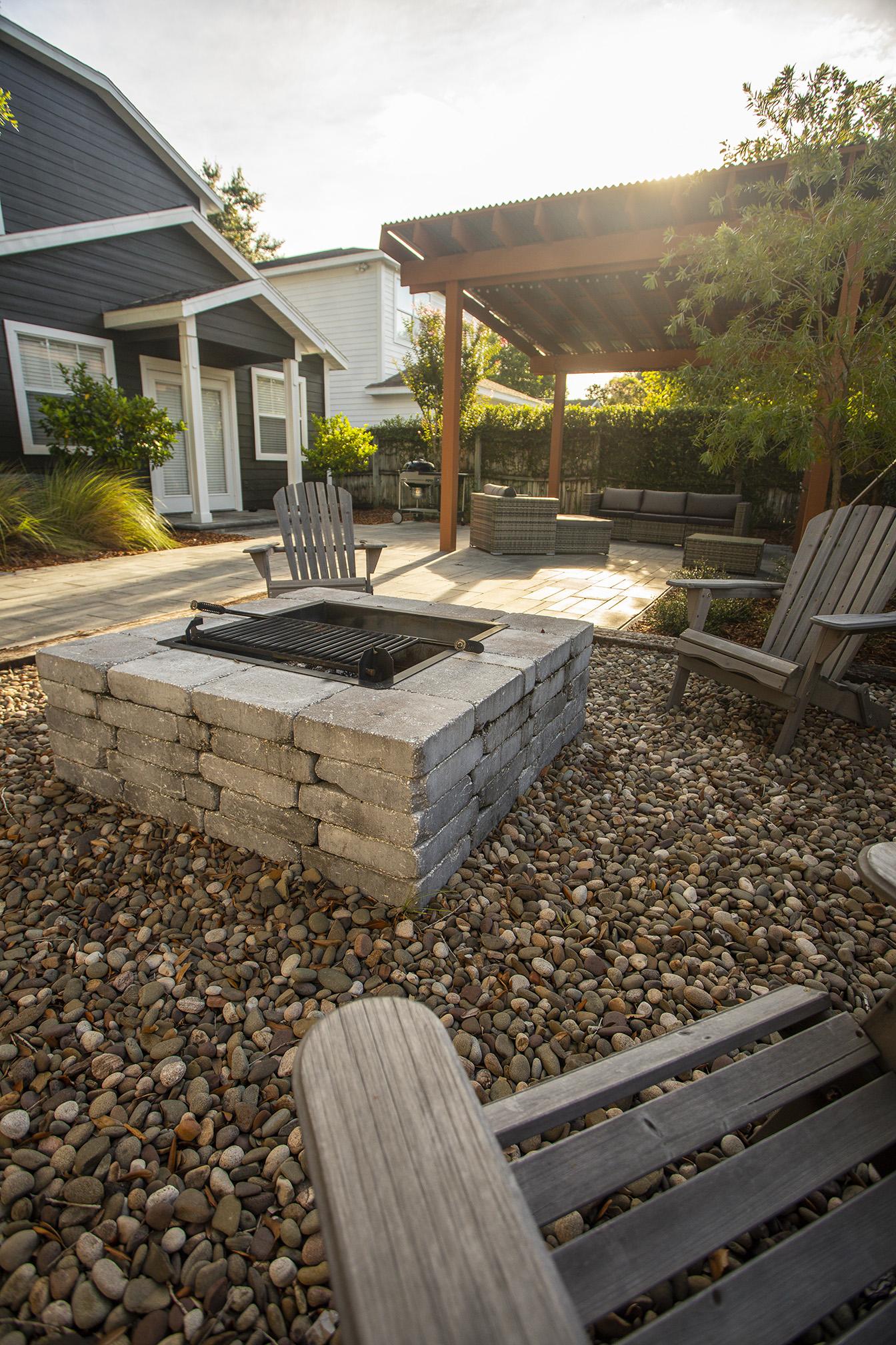 plantings patio pergola fire pit 2