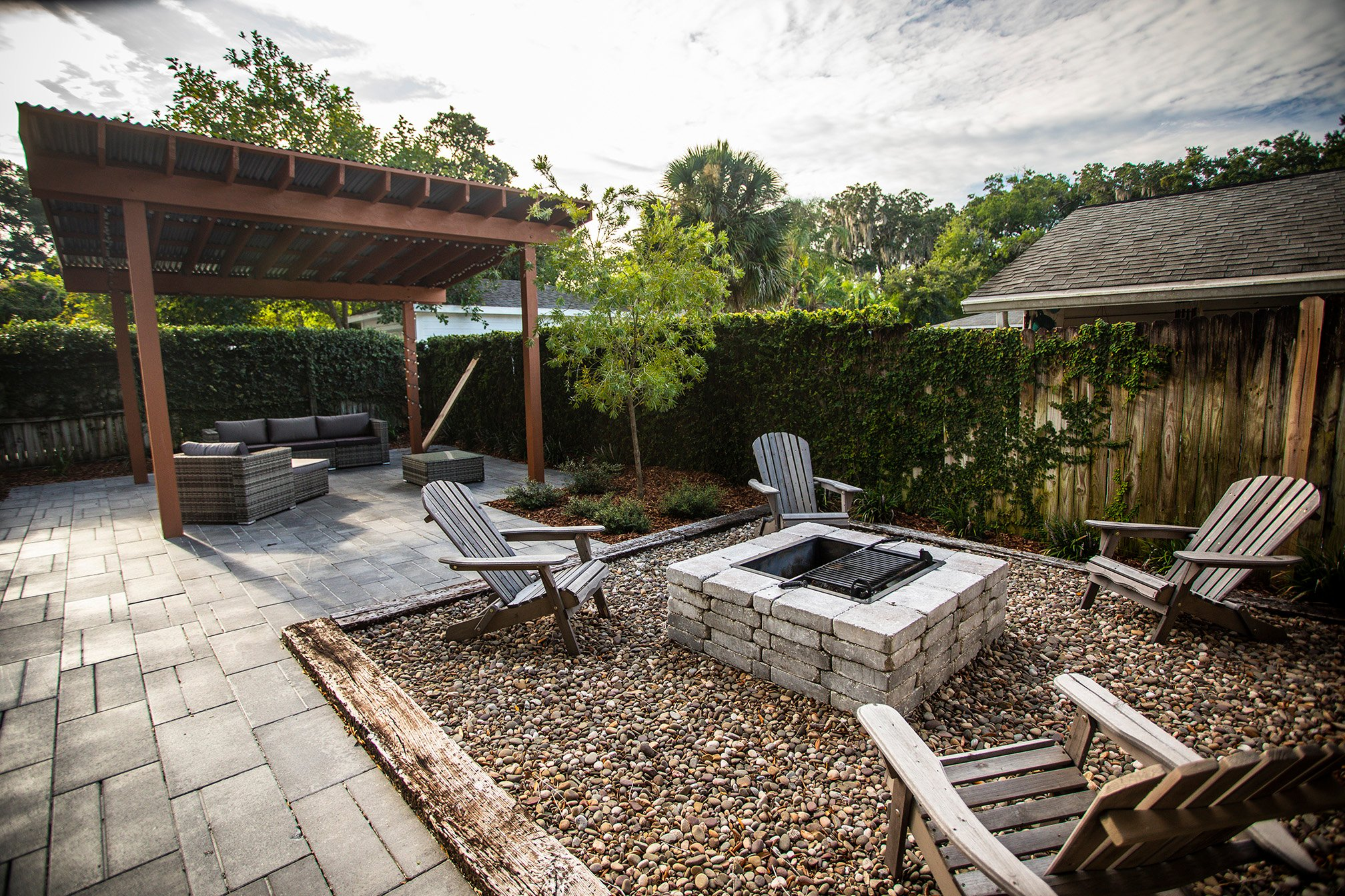 plantings patio pergola fire pit 331