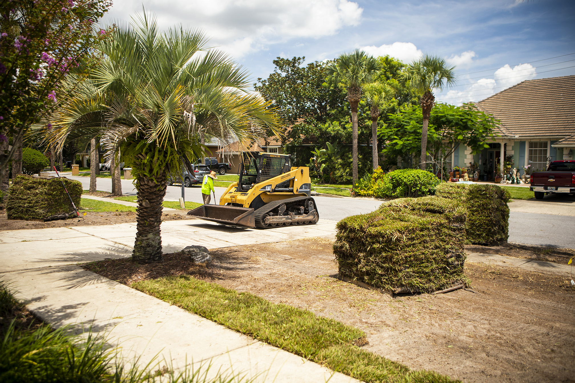 Sod being installed in central Florida lawn